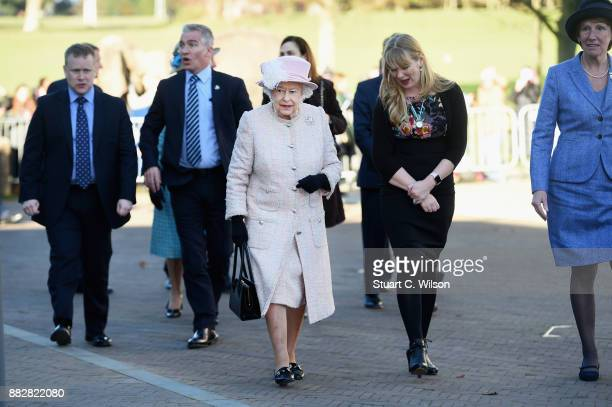 Queen Elizabeth II is seen at the Chichester Theatre while visiting West Sussex on November 30 2017 in Chichester United Kingdom