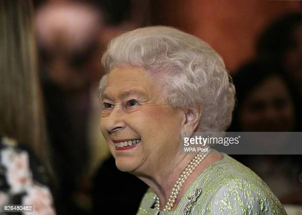 Queen Elizabeth II is seen during a reception to celebrate the patronages of the Princess in the year of her 80th birthday at Buckingham Palace on...