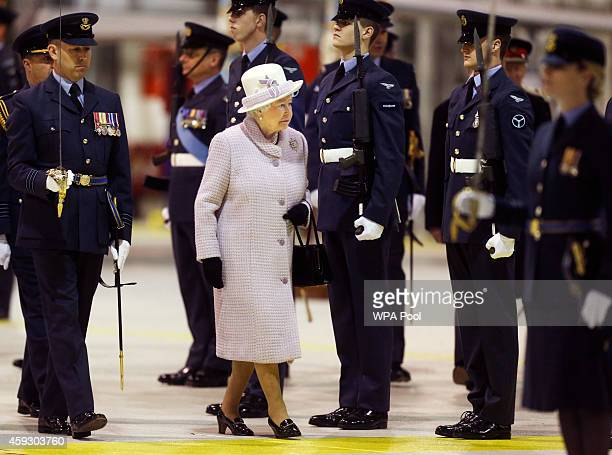 Queen Elizabeth II is seen during an inspection of personnel from No 1 Squadron as she visits RAF Lossiemouth on her 67th wedding anniversary on...