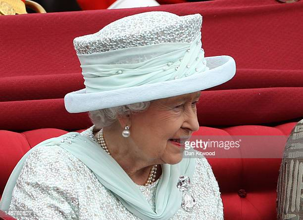Queen Elizabeth II is seen during the Diamond Jubilee carriage procession after the service of thanksgiving at St.Paul's Cathedral on the Mall on...
