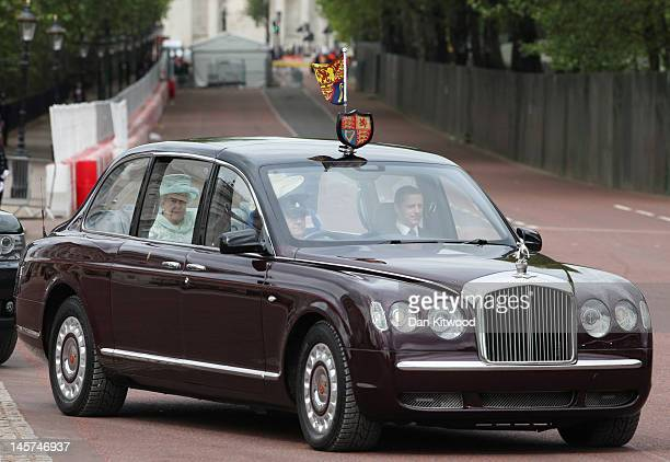 Queen Elizabeth II is seen during the Diamond Jubilee carriage procession prior to the service of thanksgiving at StPaul's Cathedral on the Mall on...