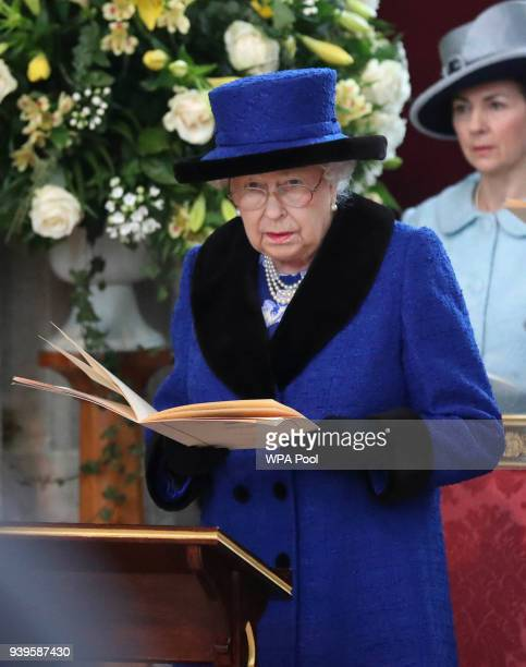 Queen Elizabeth II is seen during the Royal Maundy service at St George's Chapel on March 29 2018 in Windsor England
