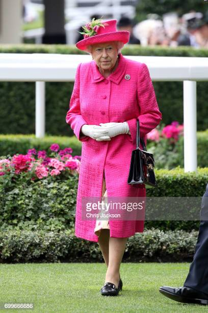 Queen Elizabeth II is seen in the Parade Ring as she attends Royal Ascot 2017 at Ascot Racecourse on June 22 2017 in Ascot England