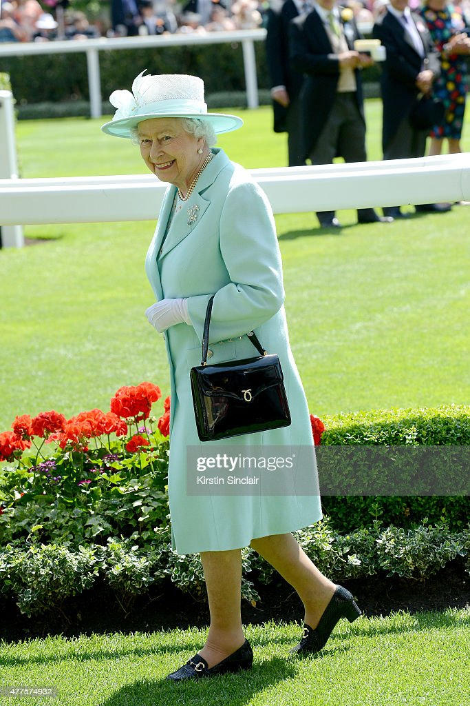 Queen Elizabeth II is seen in the parade ring following the royal procession during Royal Ascot 2015 at Ascot racecourse on June 18, 2015 in Ascot, England.