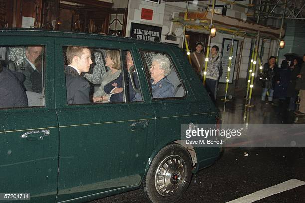 HM Queen Elizabeth II is seen leaving in a car after visiting the Victoria Palace theatre to see Billy Elliot The Musical on March 28 2006 in London...