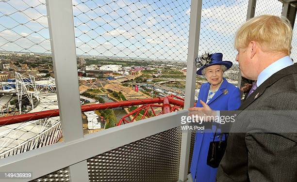 Queen Elizabeth II is shown the Olympic Stadium by London Mayor Boris Johnson from the top of the Orbit, during a short tour of the Olympic site on...