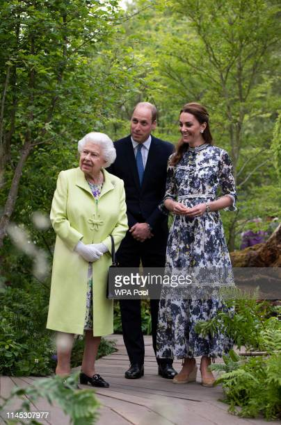 Queen Elizabeth II is shwon around 'Back to Nature' by Prince William and Catherine Duchess of Cambridge at the RHS Chelsea Flower Show 2019 press...