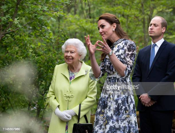 Queen Elizabeth II is shwon around 'Back to Nature' by Prince William and Catherine, Duchess of Cambridge at the RHS Chelsea Flower Show 2019 press...
