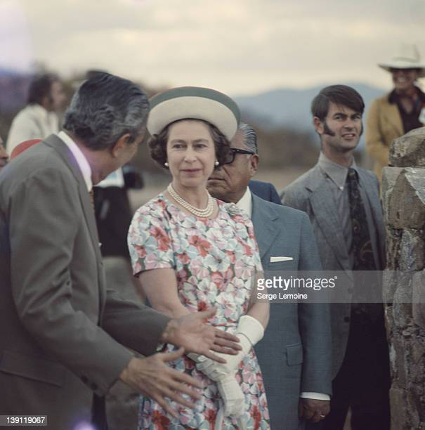 Queen Elizabeth II is taken to ancient site during her state visit to Mexico 1975