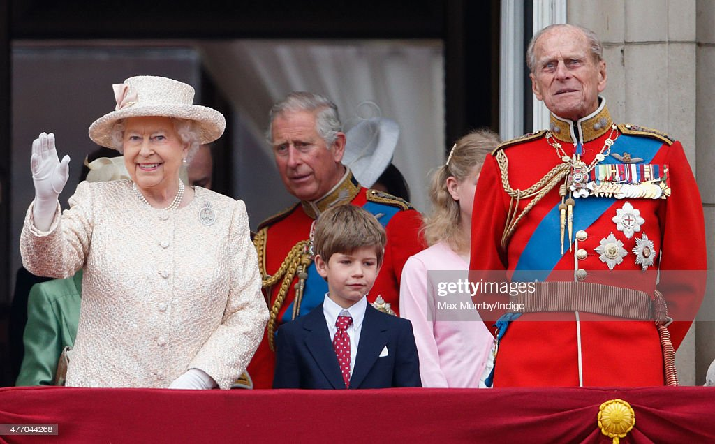 Queen Elizabeth II, James, Viscount Severn and Prince Philip, Duke of Edinburgh stand on the balcony of Buckingham Palace during Trooping the Colour on June 13, 2015 in London, England. The ceremony is Queen Elizabeth II's annual birthday parade and dates back to the time of Charles II in the 17th Century, when the Colours of a regiment were used as a rallying point in battle.