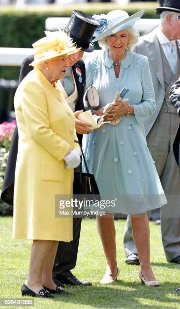 Queen Elizabeth II John Warren and Camilla Duchess of Cornwall attend day 2 of Royal Ascot at Ascot Racecourse on June 21 2017 in Ascot England
