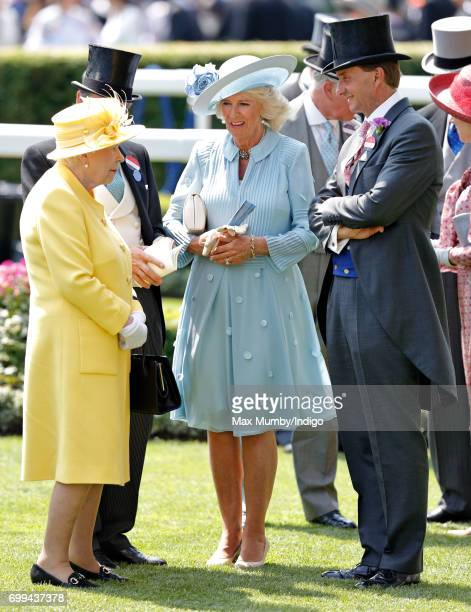 Queen Elizabeth II John Warren Camilla Duchess of Cornwall and Johnny Weatherby attend day 2 of Royal Ascot at Ascot Racecourse on June 21 2017 in...