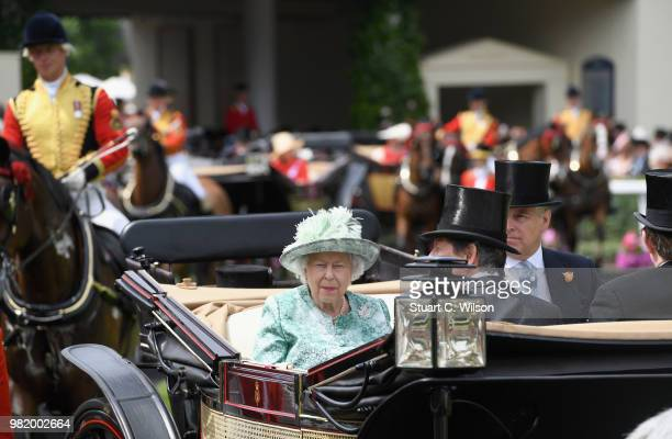 Queen Elizabeth II John Warren Prince Andrew Duke of York and Lord Valentine Cecil arrive in the first carriage in the Royal Procession on day 5 of...