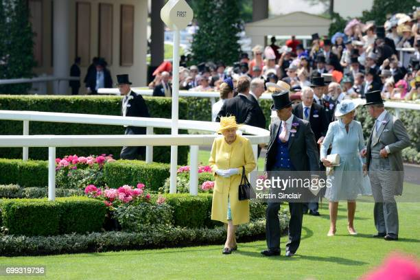Queen Elizabeth II Johnny Weatherby Camilla Duchess of Cornwall and Prince Charles are seen in the Parade Ring on day 2 of Royal Ascot at Ascot...