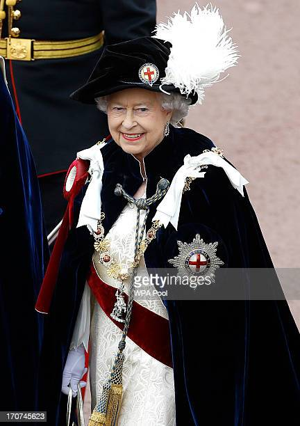 Queen Elizabeth II joins members of the royal family and Knights Garter on a procession from the Castle to St Georges Chapel for the annual service...