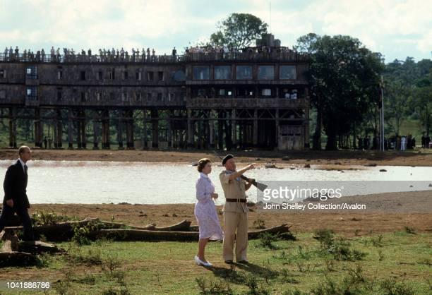 Queen Elizabeth II Kenya Queen Elizabeth II and Prince Philip are shown around the 'Treetops' hotel by Richard Prickett on November 13 1983 near...