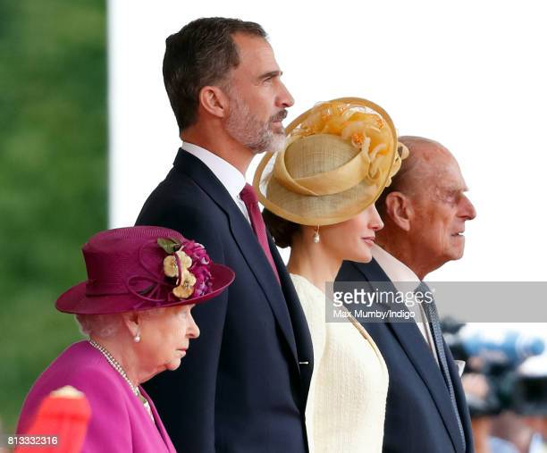 Queen Elizabeth II King Felipe VI of Spain Queen Letizia of Spain and Prince Philip Duke of Edinburgh attend the ceremonial welcome at Horse Guards...