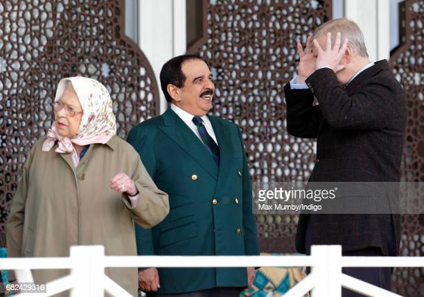 Queen Elizabeth II, King Hamad bin Isa Al Khalifa of Bahrain and Prince Andrew, Duke of York attend the Endurance event on day 3 of the Royal Windsor...