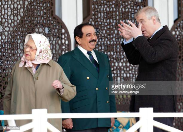 Queen Elizabeth II King Hamad bin Isa Al Khalifa of Bahrain and Prince Andrew Duke of York attend the Endurance event on day 3 of the Royal Windsor...
