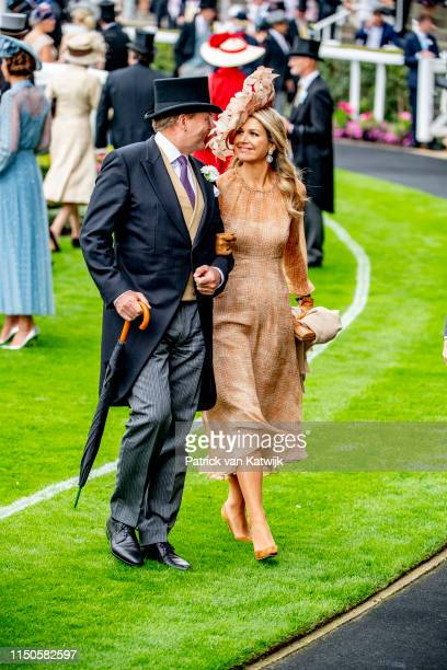 Queen Elizabeth II, King Willem-Alexander of The Netherlands and Queen Maxima of The Netherlands on day one of Royal Ascot at Ascot Racecourse on...