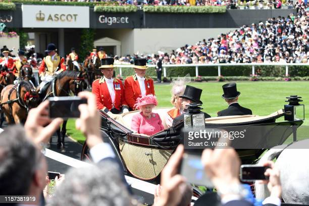 Queen Elizabeth II, Lady Helen Taylor, Timothy Taylor and Peter Phillips during the Royal Procession seen from the Parade Ring on day 4 of Royal...
