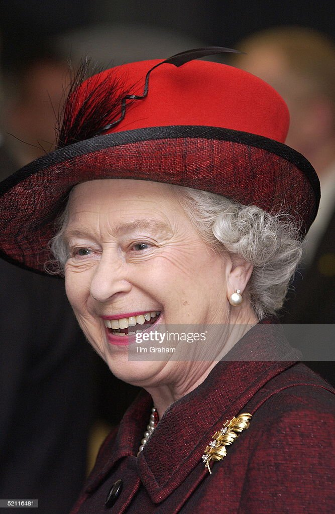 Queen Elizabeth II Laughing During A Visit To Essex University