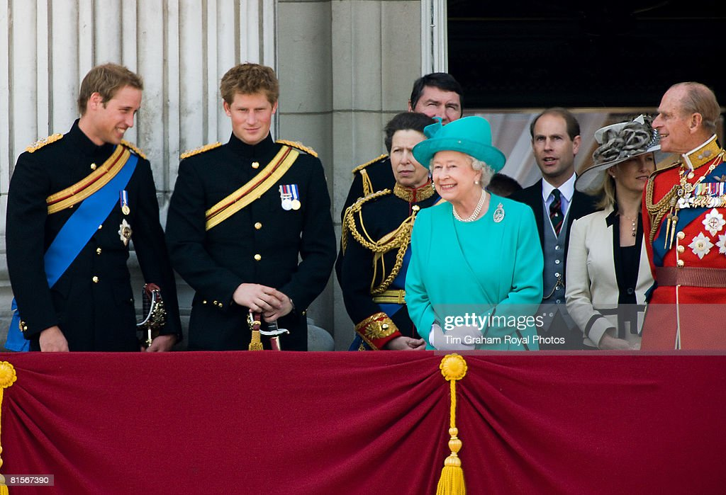 Queen Elizabeth II (C) laughs with Prince William (L) who joins her along with Prince Harry (2nd L) and Prince Philip, Duke of Edinburgh (R) on the balcony of Buckingham Palace for Trooping The Colour celebrations on June 14, 2008 in London, England. The ceremony is Queen Elizabeth II's annual birthday parade and dates back to the time of Charles II in the 17th Century when the Colours of a regiment were used as a rallying point in battle.