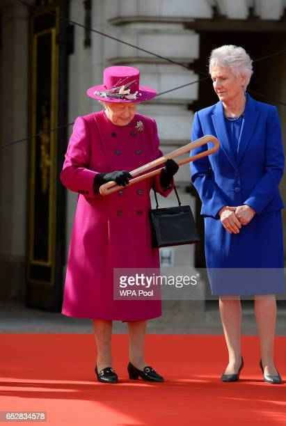 Queen Elizabeth II launches The Queen's Baton Relay for the XXI Commonwealth Games being held on the Gold Coast in 2018 at Buckingham Palace on March...