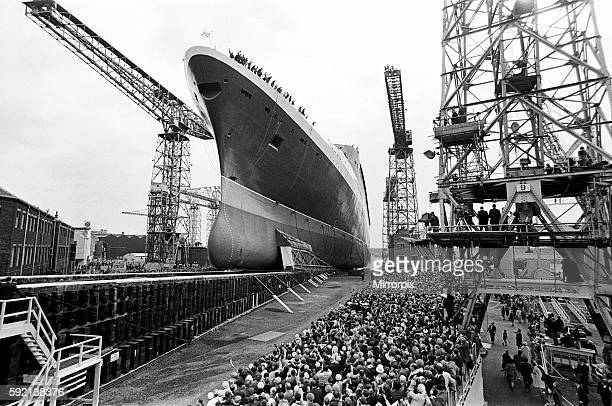 Queen Elizabeth II launching the Cunard Cruise Liner The QE2 in the Clyde 20th September 1967