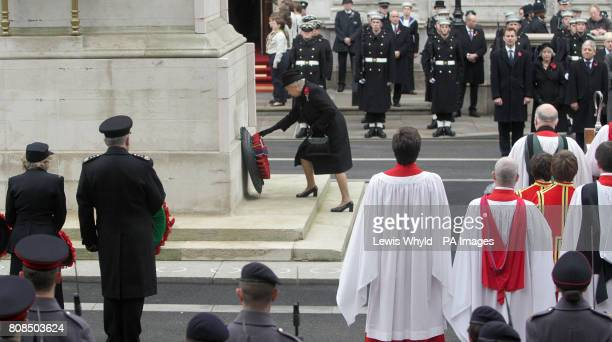 Queen Elizabeth II lays a wreath at the Remembrance Sunday ceremony at the Cenotaph Whitehall London
