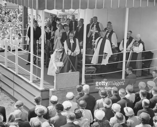 Queen Elizabeth II lays the foundation stone of the Wellington Cathedral of St Paul in Wellington New Zealand during her coronation world tour 12th...