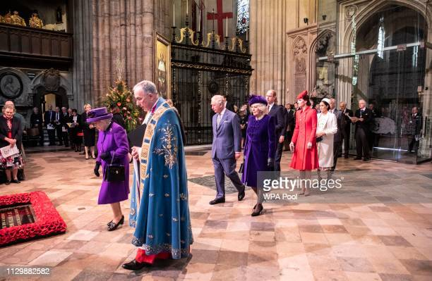Queen Elizabeth II leads the Royal family in procession in Westminster Abbey during the Commonwealth day service on March 11 2019 in London England...
