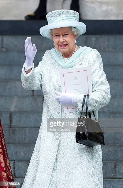 Queen Elizabeth II leaves a Service Of Thanksgiving at St Paul's Cathedral on June 5 2012 in London England For only the second time in its history...