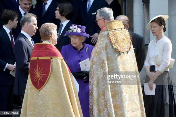 Queen Elizabeth II leaves a Service of Thanksgiving for the life and work of Lord Snowdon at Westminster Abbey on April 7 2017 in London United...