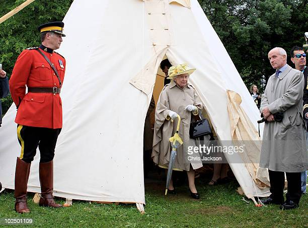 Queen Elizabeth II leaves a wigwam as she attends a Mi�kmaq event at Halifax Common on June 28 2010 in Halifax Canada The Queen and Duke of Edinburgh...