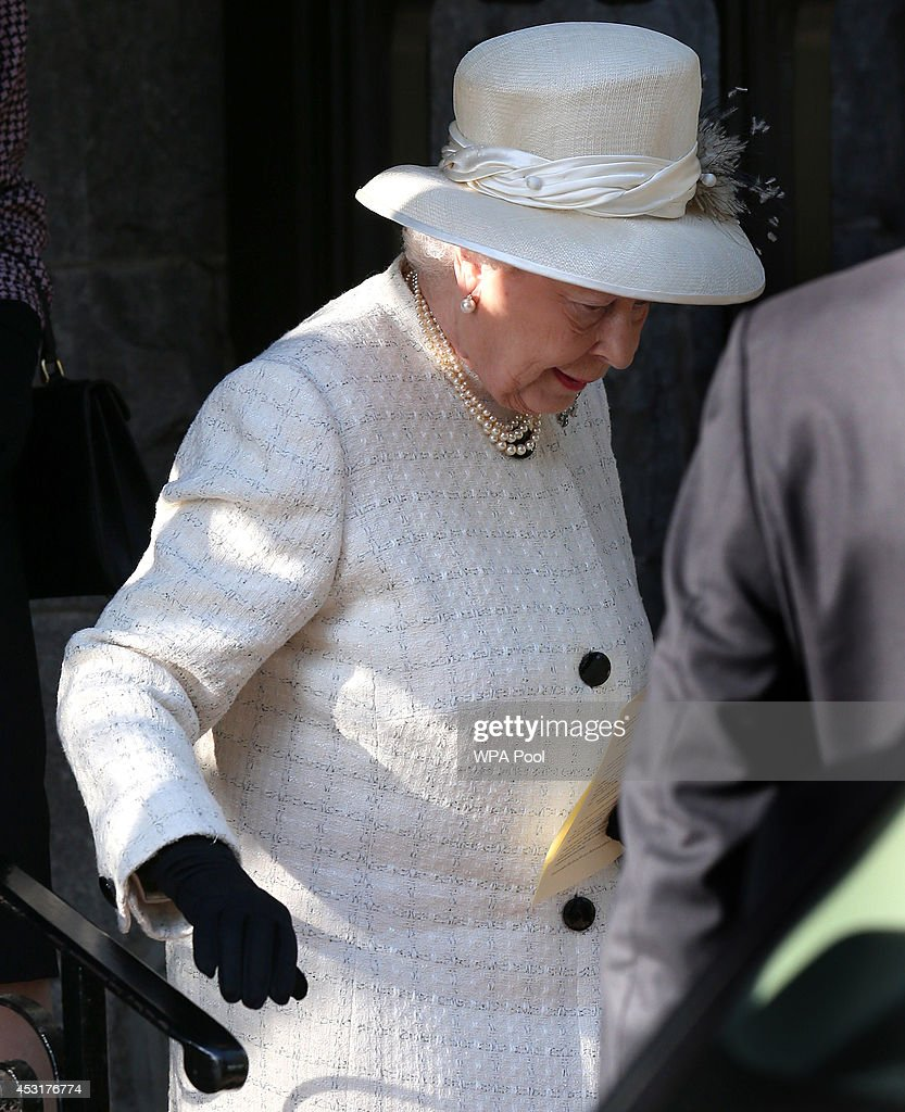 Queen Elizabeth II leaves after a service of commemoration at Crathie Kirk Church on August 4, 2014 in Crathie, Aberdeenshire, Scotland. Monday 4th August marks the 100th anniversary of Great Britain declaring war on Germany. In 1914 British Prime Minister Herbert Asquith announced at 11 pm that Britain was to enter the war after Germany had violated Belgium neutrality. The First World War or the Great War lasted until 11 November 1918 and is recognised as one of the deadliest historical conflicts with millions of causalities. A series of events commemorating the 100th anniversary are taking place throughout the day.