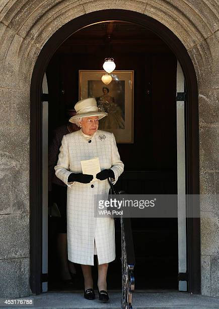 Queen Elizabeth II leaves after a service of commemoration at Crathie Kirk Church on August 4, 2014 in Crathie, Aberdeenshire, Scotland. Monday 4th...