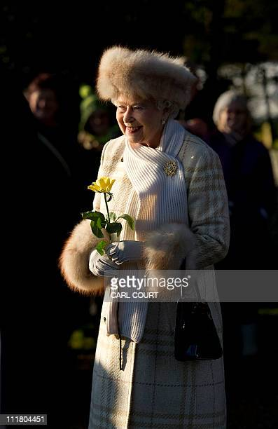 Queen Elizabeth II leaves after attending a Christmas Day church service at St Mary Magdalene Church in Sandringham Norfolk in the east of England on...