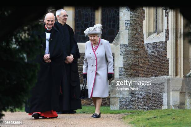 Queen Elizabeth II leaves after attending Christmas Day Church service at Church of St Mary Magdalene on the Sandringham estate on December 25 2018...
