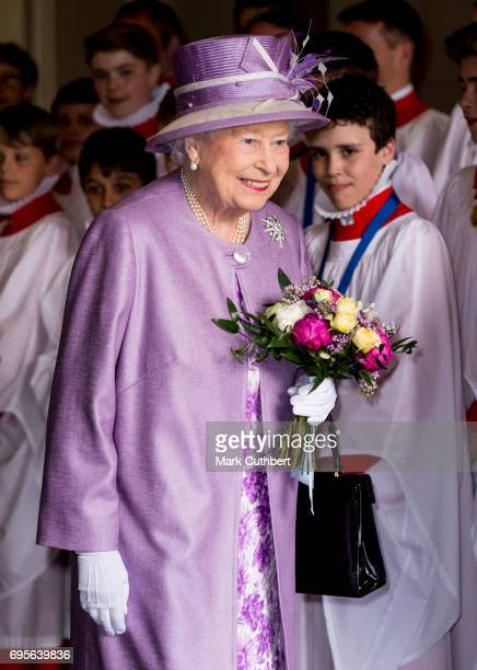 Queen Elizabeth II leaves after attending Evensong in celebration of the centenary of the Order of the Companions of Honour at Hampton Court Palace...