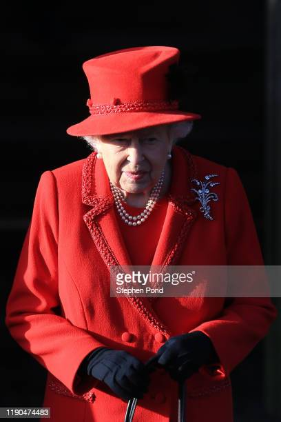 Queen Elizabeth II leaves after attending the Christmas Day Church service at Church of St Mary Magdalene on the Sandringham estate on December 25,...