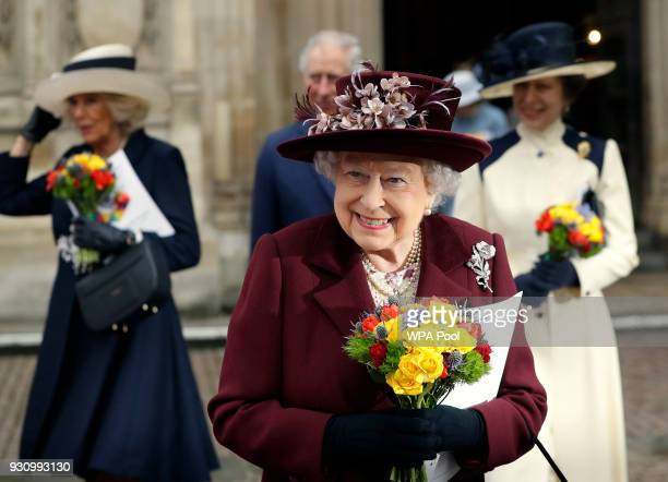 Queen Elizabeth II leaves after attending the Commonwealth Service at Westminster Abbey on March 12 2018 in London England Organised by The Royal...