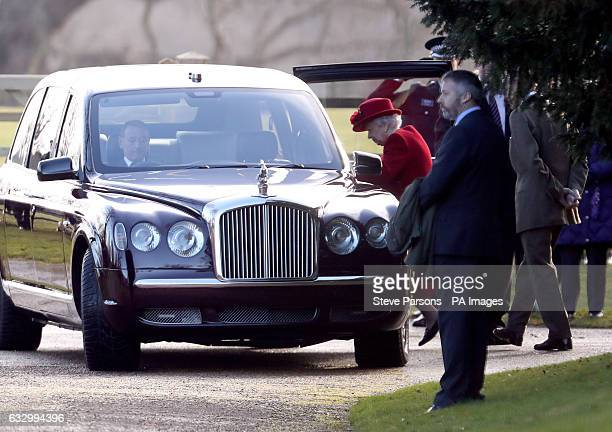 Queen Elizabeth II leaves after attending the morning church service at St Mary Magdalene Church in Sandringham Norfolk