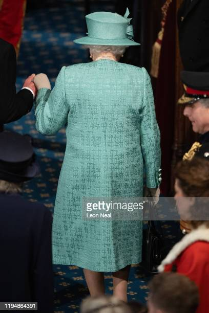 Queen Elizabeth II leaves after delivering the Queen's Speech in the House of Lord's Chamber on December 19, 2019 in London, England. In the second...