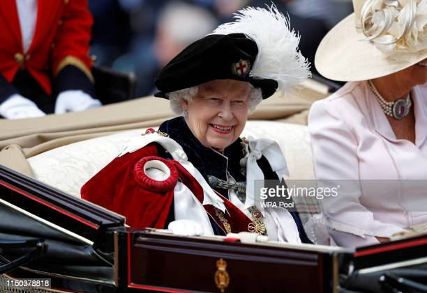Queen Elizabeth II leaves after the Order of the Garter Service on June 17 2019 in Windsor England The Order of the Garter is the senior and oldest...