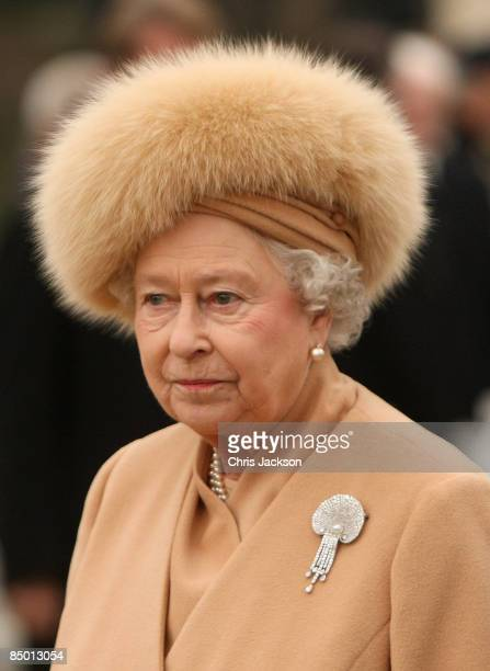 Queen Elizabeth II leaves after unveiling a new statue of Queen Elizabeth, the Queen Mother on the Mall on February 24, 2009 in London, England. The...