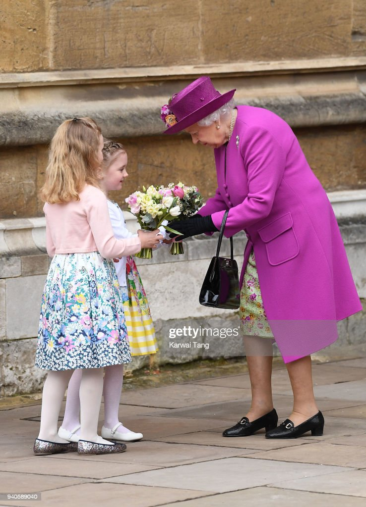 Queen Elizabeth II leaves an Easter Service at St George's Chapel on April 1, 2018 in Windsor, England.
