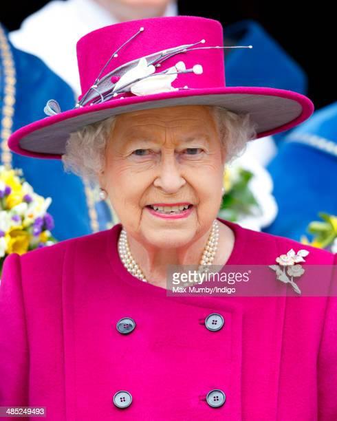 Queen Elizabeth II leaves Blackburn Cathedral after attending the Royal Maundy Service on April 17 2014 in Blackburn England