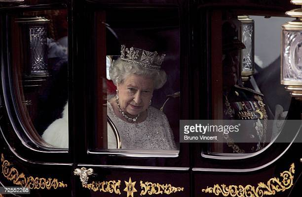 Queen Elizabeth II leaves Buckingham Palace on route to the Houses of Parliament for the state opening on November 15, 2006 in London. The Queen...