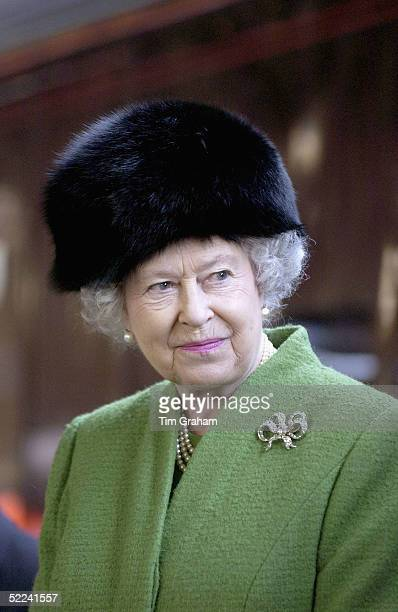 Queen Elizabeth II leaves by Royal Train from Bristol Temple Meads Station after a one day visit to Bristol on February 25 2005 in Bristol England